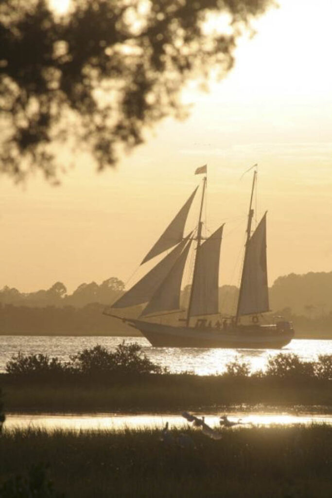 Things to do in St. Augustine Florida in 2020: Sail the sea at sunset on a tall ship - 76-foot Schooner Freedom
