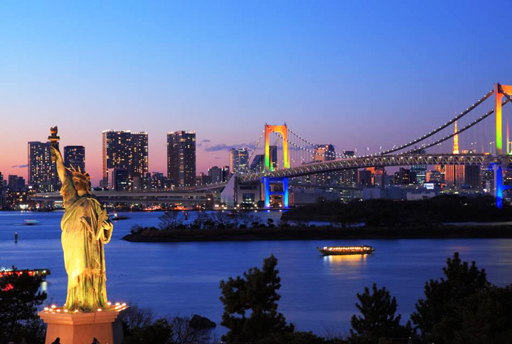 11 Best Places to View the Tokyo Skyline for Free: Odaiba Seaside Park (Minato City)